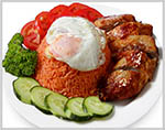 Crispy Chicken with Steamed/ Tomato Rice