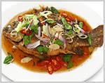 Fried Fish with Shallot/ Lemon Chili sauce 🌶